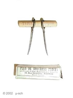 A very simple corkdrawer. Perhaps the cheapest ever made. In the patent description L. Maussion advices to use a small hammer to insert the prongs.  French Patent No. 338 105    Dec. 9, 1903    Lucien Maussion, Nantes, France    material: steel, wood