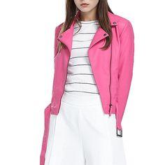 Women's Fashion Faux Leather Motorcycle Plus Size Jacket Pink Coat Slim PU Leather Short Bomber Jacket Blazer.