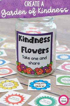 Garden of Kindness - Kindness Activity- Kindness Confetti Flowers Learning Centers, Student Learning, Basket Labels, Kindness Activities, Toddler Teacher, Small Acts Of Kindness, Stem Science, Positive Messages, Social Skills