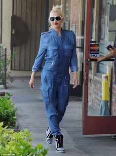 Gwen Stefani wearing L.A.M.B. Freeda High Top Sneaker Ksubi Grille Sunglasses in White
