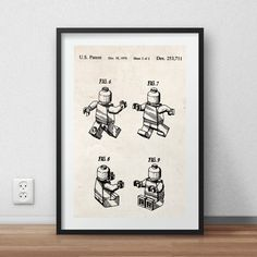 Lego man patent Poster - DIGITAL PRINTABLE poster - Instant DOWNLOAD - jpg-file - A4