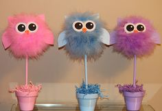 Owl topiary centerpiece, party decoration