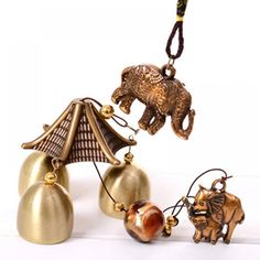 Wind Chime Antique Cooper Home Wall Hanging Decoration Windchime Garden Ornament Bells Wooden Elephant, Garden Ornaments, Feng Shui, Wind Chimes, Retro, Drop Earrings, Antiques, House Styles, Jewelry