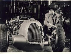 Elly Beinhorn(Bernd Rosemeyer wife) and Hans Stuck with a nude Auto Union Type C
