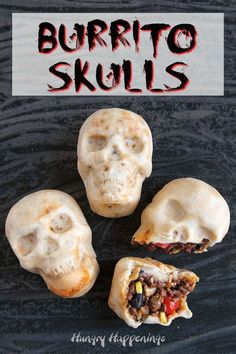 Burrito Skulls 3 burrito skulls with one cracked open showing the taco meat corn black beans tomatoes and cheese The post Burrito Skulls appeared first on Halloween Food. Halloween Snacks, Halloween C, Creepy Halloween Food, Spooky Food, Halloween Dinner, Halloween Goodies, Mexican Halloween, Halloween Food Recipes, Halloween Make Up Ideas