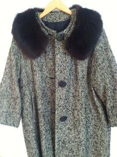 VINTAGE tweed coat with mink fur collar by wyandotte fabric swing coat style 50's. $55.00, via Etsy.