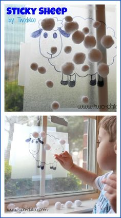 Sticky Sheep Fine Motor Activity - contact paper and cotton balls
