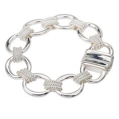 Sterling Chic Collection Silver Oval Link Bracelet with Lock Closure