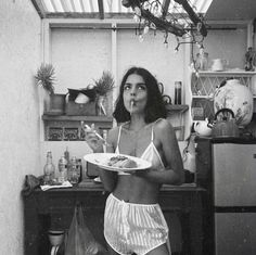 black and white photography girls eating spaghetti pasta in silk underwear