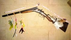"My Coach Gun as used by Wyatt Earp and Wells Fargo stagecoach thus the name. I done it like Native American with cyotee head and feathers. **can I apologise if in any listings I refer to Native Americans as Indians, I grew up in the era of ""Cowboys and Indians"""