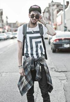Monochrome Optical black and white t shirt for men.
