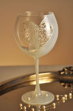 Hand Painted wine glass Love by PaintedGlassBiliana on Etsy, $22.00