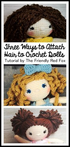 How to Attach Hair to a Crochet Doll- attaching yarn hair, ringlets and pigtails and pony tails!