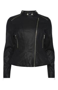Primark - Black PU Peplum Zip Biker Jacket