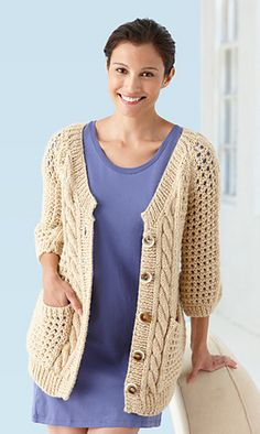 Ravelry: Cables And Lace Cardigan pattern by Lion Brand Yarn
