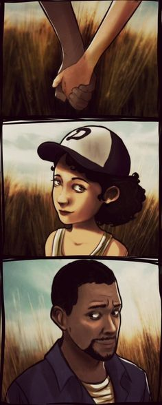 Lee / Clementine from the Walking Dead video game. So. Many. Feels. What a cute pic.