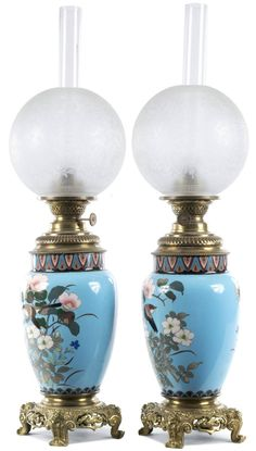 Pair of Meiji Cloisonné Lamps with French Ormolu Fittings 3 Antique Oil Lamps, Vintage Lamps, Hurricane Oil Lamps, Japanese Vase, Oil Candles, Light Fittings, Cottage Bedrooms, Perfume Bottles, Table Lamp