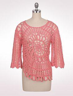 8d96b5174c Petite Floral Crochet Pullover