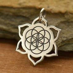 Sterling Silver Seed of Life Lotus Charm