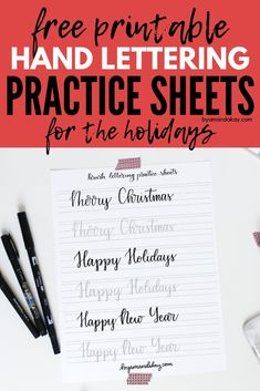 Free practice sheets to learn hand lettering for the holidays. Christmas and new year inspired words for brush lettering practice #byamandakay #brushlettering #letteringpractice #freeprintable