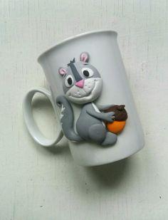 Squirrel polymer clay mug