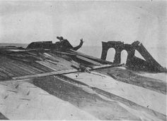 Damage to flight deck of carrier Shokaku, after the Battle of the Coral Sea. Judging from the stripes on the deck, probably the near the stern.