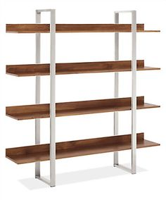 Minimal and modern, the Elton bookcase offers sophisticated storage. Pair your favorite solid wood with stainless, natural, or white powder-coated steel for a beautiful mix of materials that enhances Elton's striking profile.