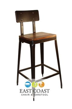 New Simon Steel Bar Stool with Antique Rust Finish and Reclaimed Wood Seat