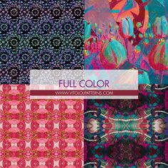 Full Color Collection from Vito Loli Patterns. Inspired in the art of Vito Loli, peruvian artist. #art #vitololi #peru #peruvian #patterns #fullcolor #full #color #ethnic
