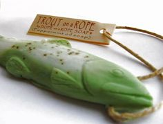 Trout Soap on a Rope  Green Peppermint and by DopeOnARopeSoap