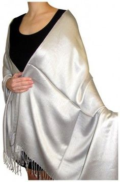 Product No.: 2052 This Silver Evening Wrap Shawl for women comes with a lustrous sheen for evening wear. Perfect for bridesmaids wraps, prom wraps these Silk  Pashmina evening shawls make unique gifts. Shop our seasonal evening shawls for spring, summer, fall and winter and look beautiful and save big!