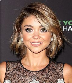 Short bob, above the shoulder hair cut, dark brown with light blonde highlights