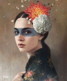 This beautiful collection of mysterious female portrait illustrations is by Tom Bagshaw who is currently based in Bath, England. Art And Illustration, Portrait Illustration, Female Portrait, Portrait Art, Portraits, Portrait Paintings, Digital Portrait, Tom Bagshaw, Wow Art