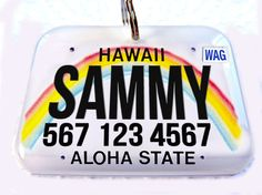 Hawaii car license plate Personalized Custom ID Tags Double Sided pet tags dog tags - 3 different sizes available