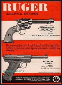 1955 RUGER Single-Six REVOLVER & Standard Model PISTOL Vintage Print AD