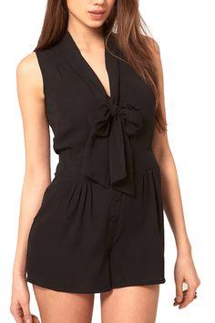 ROMWE | V Neck Self-tie Black Playsuit, The Latest Street Fashion