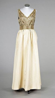 f2d394c8 Pierre Balmain couture beaded gold faille evening gown, early 1960s Vintage  Fur, Vintage Bridal