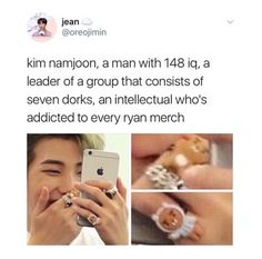 Namjoon and his Ryan merch....why is he so cute❤