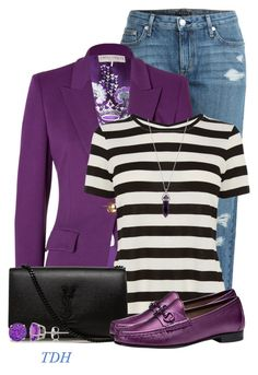 """""""Striped Shirt"""" by talvadh ❤ liked on Polyvore featuring Theory, Emilio Pucci, Karen Millen, Yves Saint Laurent, Gucci and Allurez"""