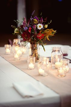 Virginia Vineyard Wedding Wildflower Mason Jar Candles 275x412 Ashley + Carlins Outdoor Virginia Vineyard Wedding