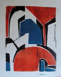triptico  xilografia a tres colores