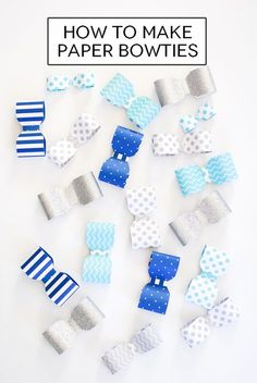 How to make a paper bowtie garland for a baby shower, baptism, birthday and more!
