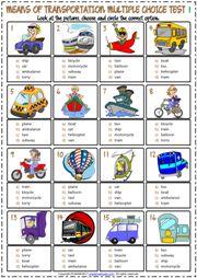 Means of Transportation ESL Printable Multiple Choice Tests