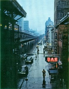 """View from an elevated train platform. New York City. c Esther Bubley, Third Avenue, New York, 1951 """" Lower Manhattan, Manhattan Nyc, 1940s Photos, Old Photos, Vintage Photos, Vintage Photography, Street Photography, Aerial Photography, Landscape Photography"""