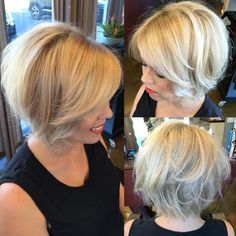 Blonde bob with swoopy tips