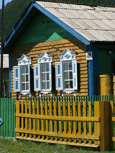 Wooden house. Bolshoe Goloustnoe, Baikal, Siberia, Russia.