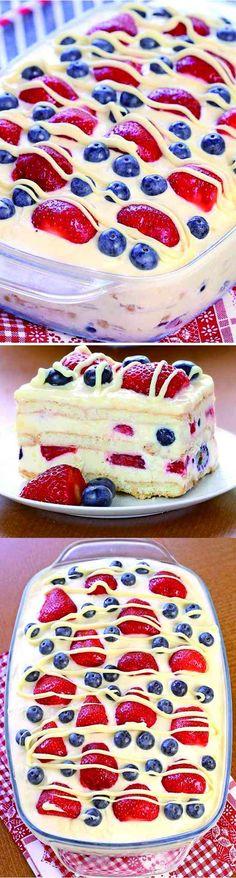 No Bake Summer Berry Icebox Cake - blueberry, cake, chocolate, cookie, dessert, recipes, strawberry, vanilla