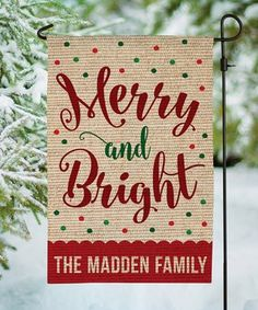 'Merry and Bright' Burlap Personalized Outdoor Flag