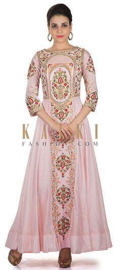Baby Pink Cotton Silk Gown Adorned with Resham Embroidery Only on Kalki Punjabi Fashion, Indian Fashion, Ethenic Wear, Long Frock, Punjabi Dress, Fairytale Dress, Kurta Designs Women, Pink Gowns, Indian Gowns