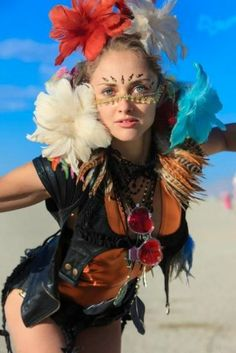 fashion blooming at a festival in the desert - Burning Man Costumes by SAM I AM